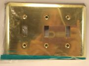 Triple Toggle Wall Switch Plate Cover Polished Brass Finish