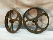 Antique 2pc Cast Iron Toy Industrial Tractor Steam Engine Tires 4 1/4in X 7/8in