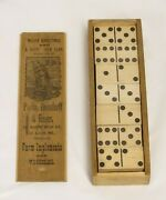 Antique 19th C Wooden Dominoes Advertising Plow Mfg Parlin Orendorff And Bauer