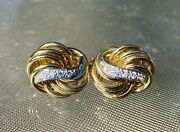 Exquisite Signed Abel And Zimmerman Germany 18k Diamond Pierced Earrings