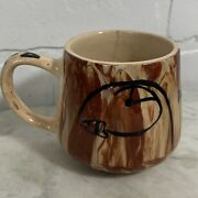 Vintage Alaskan Pottery Marbled Sitka Clay Coffee Mug Cup Puffins