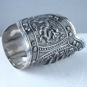 C1920 Antique Chinese Silver Cuff Braceletrepousse Dragon And Pagoda