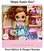 Baby Born Magic Potty Surprise Doll Brunette Green Eyes Pee Glitter Poop Charms