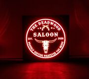 Custom Saloon Beer. Led Sign Personalized, Home Bar Longhorn Sign, Western