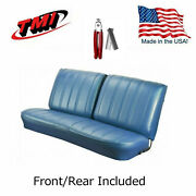 1966 Chevelle Coupe Blue Front/rear Bench Seat Upholstery And Pliers - In Stock