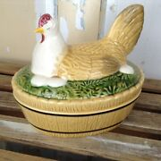 Rare Vtg Large Colorful Hen On A Nest Dish With Lid 8andrdquo Long Germany 385 2
