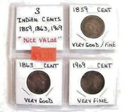 3 Pc Indian Head Penny Set 1859-1863-1909 Free Shipping In U.s.a.
