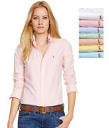 Polo Womenand039s Long Sleeve Oxford Shirt Custom Slim Fit All Sizes