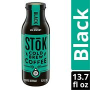 Stok Cold Brew Iced Black Un-sweet Coffee 13.7 Oz Pack Of 12