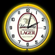 19 Yuengling Lager Beer Sign Yellow Double Neon Clock Americas Oldest Brewery