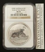 2008 Australia Year Of The Mouse 1 Oz Lunar Silver Coin Ngc Ms70