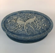 Incolay Stone Jewelry Trinket Box Carved Birds Of Paradise Blue Oval Lidded Deco