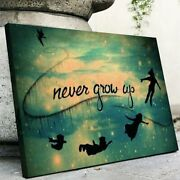 Neverland Never Grow Up Wall Art Printed On Wrapped Canvas, Solid Wooden Frame