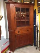 Antique Corner Cabinet Early 1800andrsquos Two Piece Cherry Wood Original Glass Beaut