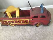 Antique Pressed Steel Ride On Wyandotte Fire Truck W/ladders And Seat Htf