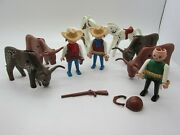 Vintage 1974 And 1988 Geobra Playmobil Cowboy Long Horn Steer Horse Rifle Toys