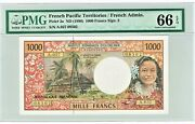 French Pacific Territories 1000 Francs Nd 1996 Pick 2a Pmg Gem Unc 66 Epq.
