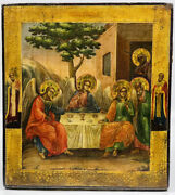 19th C Original Antique Russian Icon Of The Old Testament Trinity Painting