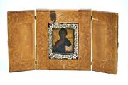 19th Century Antique Russian Abramstevo Icon Triptych Of Christ Wood Painting