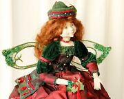 Shelf Sitting Christmas Fairy Woodland Pixie Forest Doll Red And Green