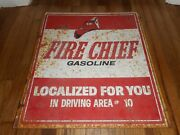 Vintage Texaco Fire Chief Localized Metal Advertising Oil Gas Station Sign