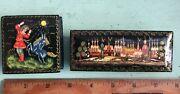 Two Russian Black Lacquer Trinket Boxes-churches And Boy With Goat - Signed