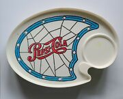 9 Vintage Pepsi Cola Stained Glass Motif Plastic Plate Snack Tray W/ Cup Holder