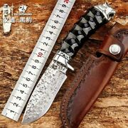 Drop Point Knife Hunting Tactical Combat Hand Forged Damascus Steel Collectible
