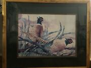 Pheasant Watercolor Painting Signed By Artist Triple Matted By Crown Fine Arts