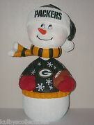 Green Bay Packers Snowman Holiday Bobble Head 2015 Edition 12 Tall Limited New