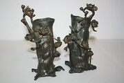 Two Antique Victorian Solid Brass Vases With Vines And Flowers