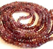 Pink Tourmaline Necklace 36 Faceted Beads Flapper Lariat Length Drum Shape Knot