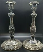 Heritage 1847 Rogers Bros Silver Plated Vintage Candle Stick Holder Pair 9416