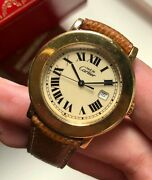 Vintage Quartz Gold Case Roman Numeral Dial W/ Box And Papers Watch