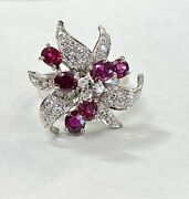 Antique 18k Solid White Gold Ruby Diamond Cocktail Ring Size 4.5