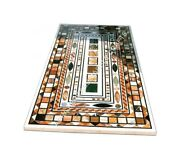 5and039x3and039 Marble Contemporary Dining Table Top Multi Marquetry Inlay Home Decor E955