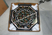 24 Black Marble Coffee Center Table Top Animal Collectible Inlaid Decor H3407