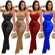 New Sexy Women Lowcut Spaghetti Strap Patchwork Skinny Solid Club Jumpsuit Party