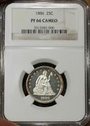 1886 Liberty Seated Quarter Ngc Pf 66 Cameo Low Mintage 886 Ultra Rare Coin