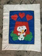 Vintage Peanuts Snoopy Balloon Fabric Quilted Baby Blanket Hearts Love 1958