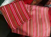 Table Napkins And Placemats Set Of 6 In Red With Stripes Of Green And White