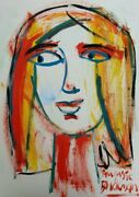 Auguste Blackman Side-ways Glance - Original Signed Expressionist Painting + Lop