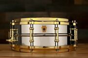 Ludwig 14 X 5 Lb400bbtwm Chrome On Brass Snare Drum Gold Fittings Diecast Hoop