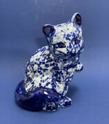 Vintage Blue White Floral Calico Chintz Pattern Sitting Cat Paw Up Figurine 6.5andrdquo
