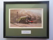 David Shepherd Steam Train Print And039flying Scotsmanand039 Signature In The Mount Framed