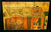 Vintage Naive Folk Art Painting On Boards Christmas Home W. Tree Unsigned Hol