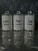 Tea Coffeesugar Large Diamond Crushed Silver Crystal Filled Canister Jars