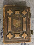 """Antique Vtg 1800s Holy Catholic Bible Gold Gilt And Leather + Supplement 14x11.5"""""""