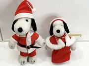 Vintage 1988 12andrdquo Plush Snoopy Santa Claus And Mrs Claus Christmas Stuffed Animals