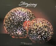 Evergreen Stargazing Red Starburst 6 And 8 Inch Led Glass Orbs Set Of 2 Rare